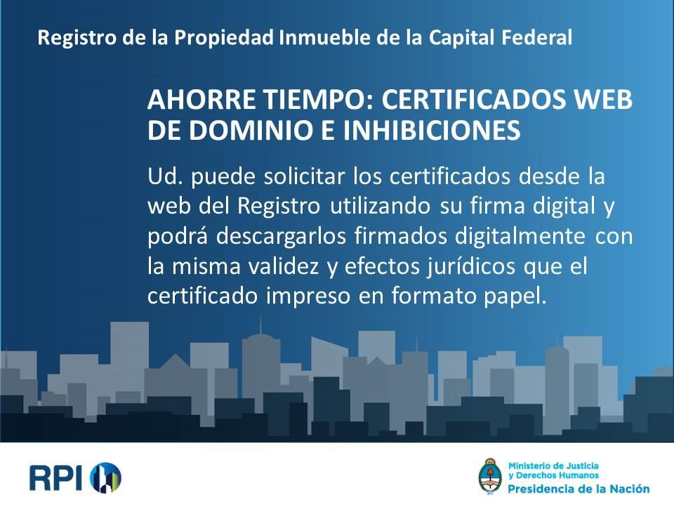 RPI de la Capital Federal: Certificados de dominio vía web – Instructivo