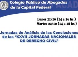 """Jornadas de Análisis de las Conclusiones de las """"XXVII Jornadas Nacionales de Derecho Civil"""""""
