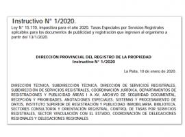 Dirección Provincial del Registro de la Propiedad: Instructivo 1/20