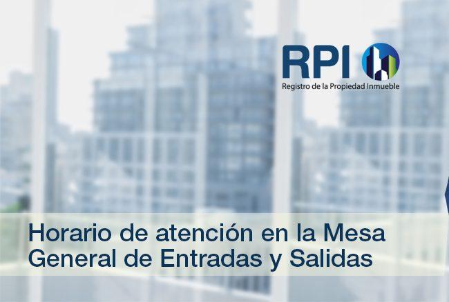 RPI de la Capital Federal – Horario de atención en la Mesa General de Entradas y Salidas