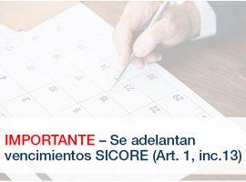 IMPORTANTE – Se adelantan vencimientos SICORE (Art. 1, inc.13)