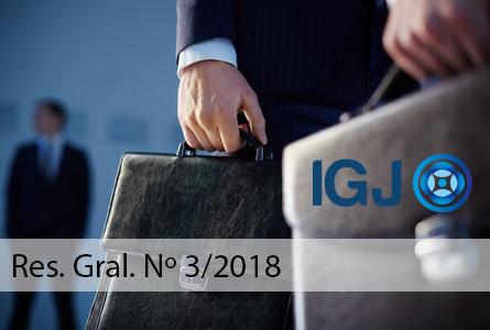 Inspección General de Justicia (IGJ): Res. Gral. N.º 3/2018