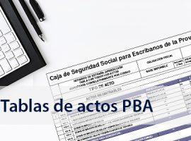 Actualización de la tabla de actos notariales del Colegio de Escribanos de la Prov. de Bs. As.
